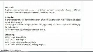 Exempel Pa Cv Sfi Fortsattning Youtube
