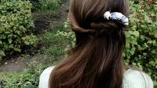 Быстрая прическа на длинные волосы с гребнем Прическа своими руками
