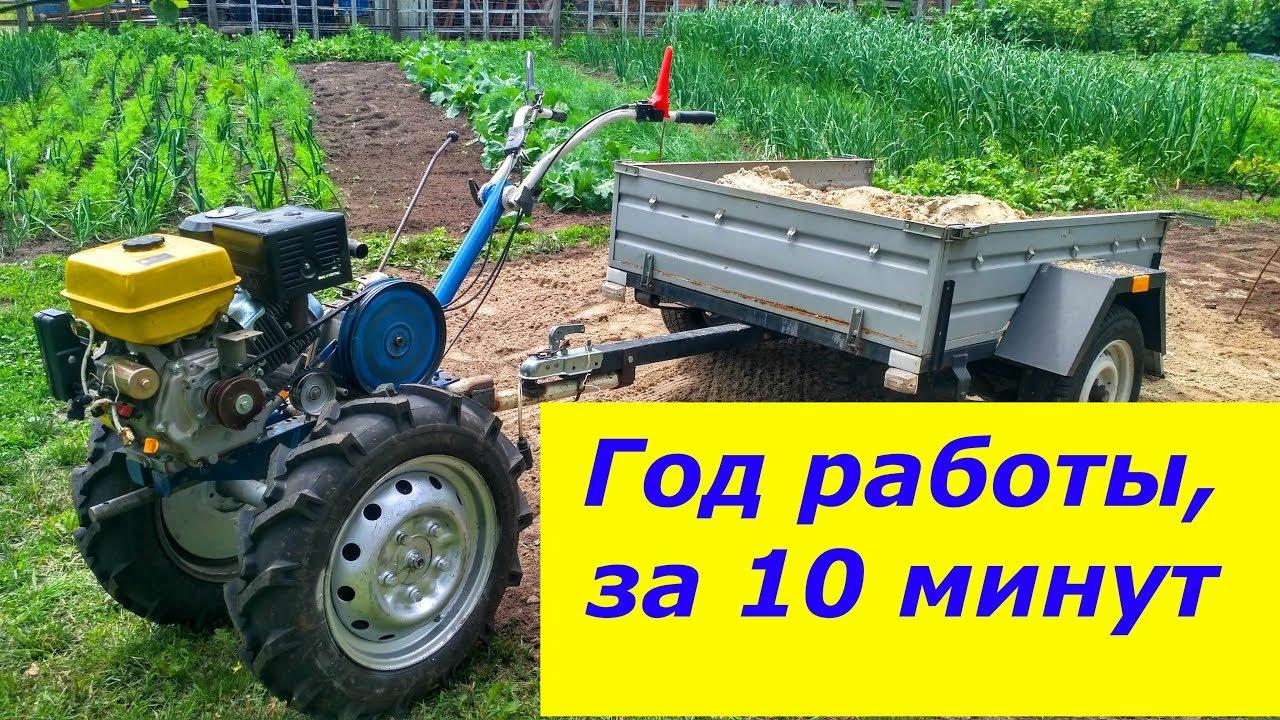 Работа мотоблока, навесного оборудования и средств механизации на протяжении года, за 10 минут