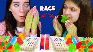 ASMR CANDY RACE WITH STICKY TAPE ON HAND (CANDY BUTTONS, WAX STICKS, JELLO CUPS) Eating Sound