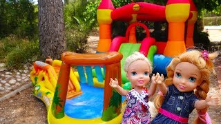 Elsa and Anna toddlers bouncy castle and games