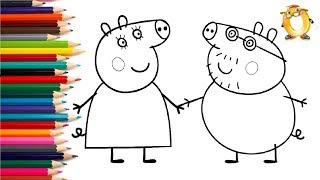 Раскраска для детей ГЕРОИ МУЛЬТИКА СВИНКА ПЕППА на русском. Учим цвета | ОБУЧАШКА ТВ