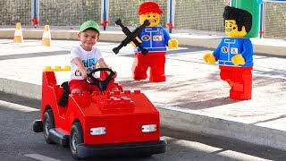 Dima ride on POWER WHEEL Lego car in Outdoor Playground for children Amusement park Funny playtime