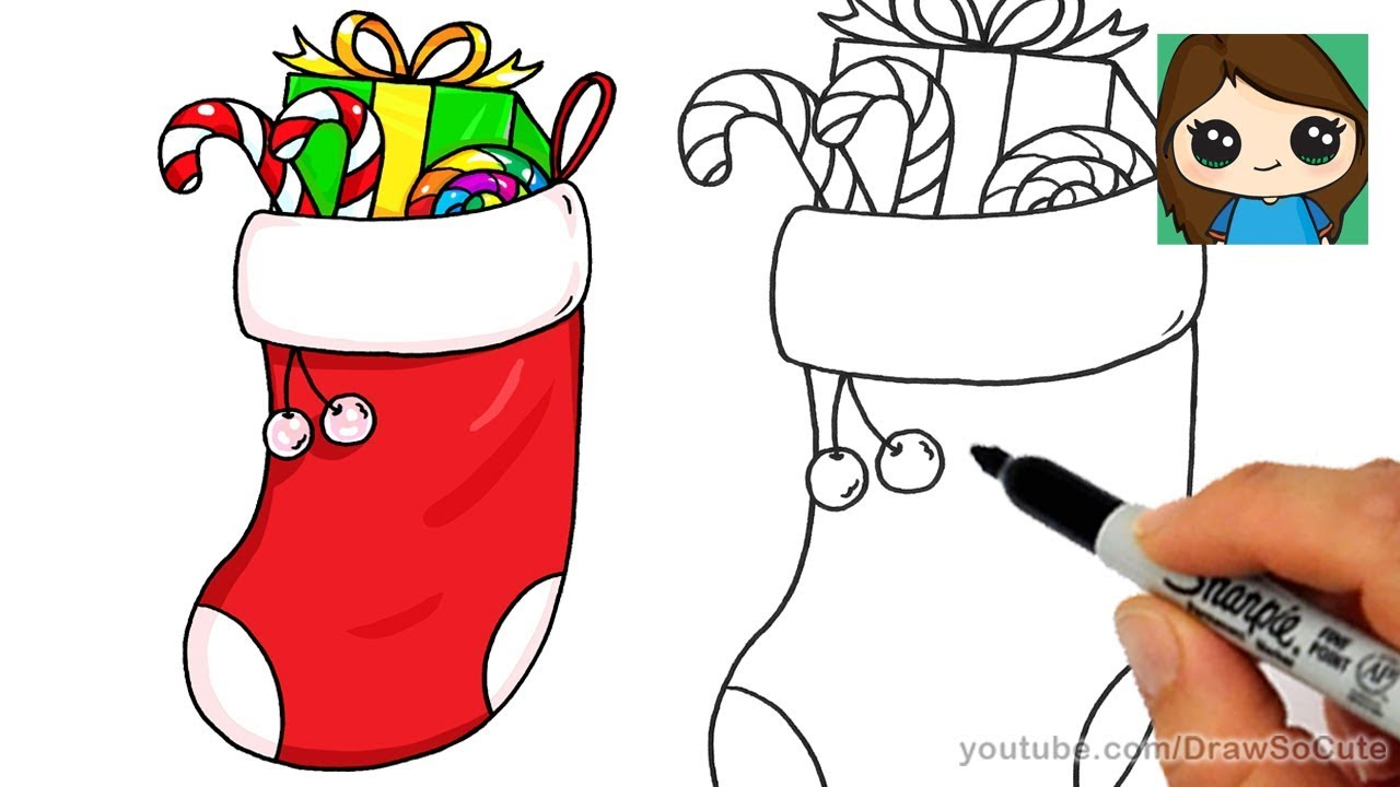 Drawings Of Christmas Stockings.How To Draw A Christmas Stocking Easy
