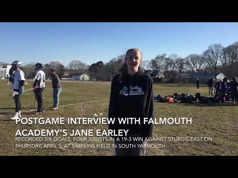 Postgame interview with Falmouth Academy's Jane Earley
