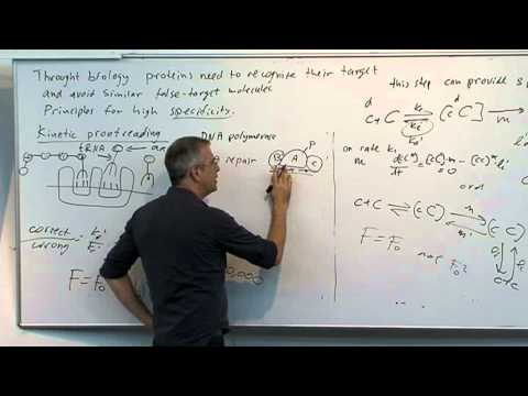Systems biology course 2014 Uri Alon - lecture 11: Proofreading