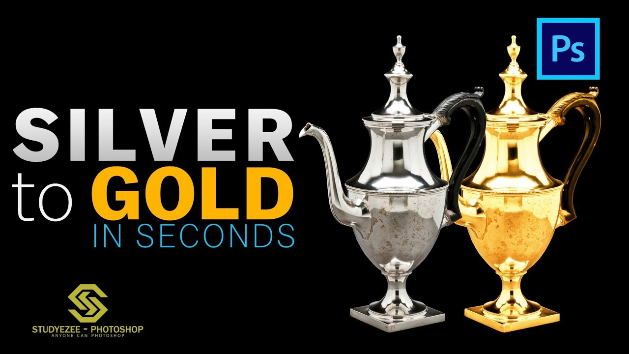 Silver to Gold in seconds | how to convert silver into gold | Photoshop 2021 | Shorts