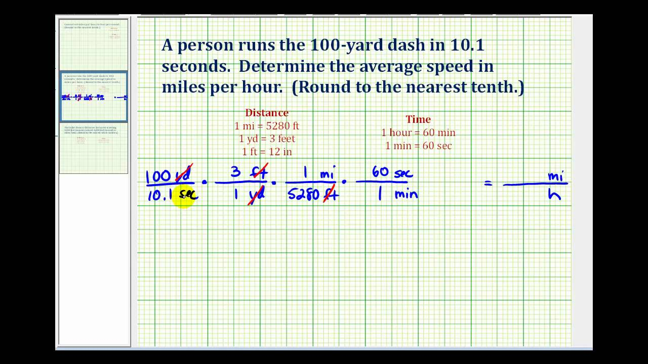 Ex: Convert Yards Per Second to Miles Per Hour - YouTube