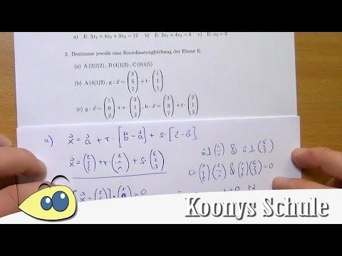 Koordinatengleichung der Ebene aufstellen, Beispiel, Teil 1 | Blatt ...
