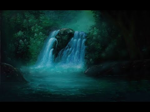 Beautiful painting waterfall with acrylics
