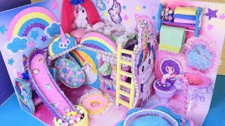 DIY Miniature ❤️Dollhouse~ ❤️Unicorn❤️Kids Bedroom and Bathroom Decor~