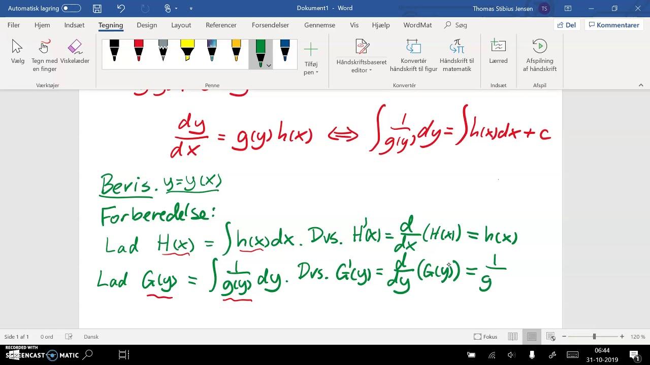 Differentialligning.  Sætning om separation af variable - del 1: forberedelse til bevis