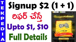 Signup 2 dollars | per refer upto to 1 dollar | best earning app | clip clap cash