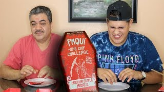EATING THE HOTTEST CHIP IN THE WORLD W/ ERIKA'S DAD (#ONECHIPCHALLENGE)