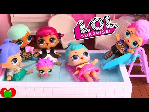 LOL Surprise Dolls Swimming Pool for New Dollhouse Wrong Clothes Toy Video