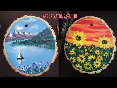 How to Paint Wood Slice for Home decor/2 Easy Landscape Painting/Wood Slice Painting tutorial