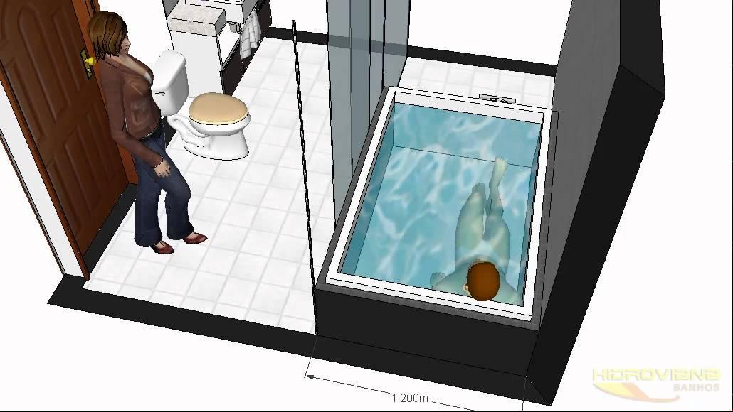Projeto de Hidromassagem com Banheira Ouro Fino  YouTube -> Planta De Banheiro Com Banheira Dupla