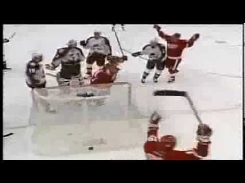 Unlucky Bounce: Patrick Roy shows the world his glove minus puck