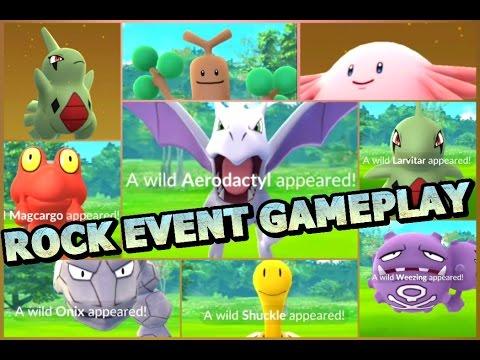 Pokémon GO ROCK EVENT GAMEPLAY Larvitar Aerodactyl Magcargo Chansey Shuckle Egg Hatches & more