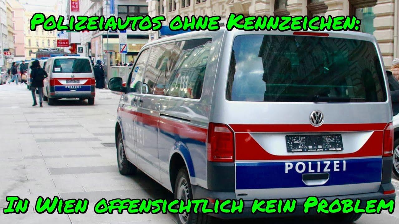 POLIZEIAUTOS OHNE KENNZEICHEN: In Wien (bei der Demo am 13.2.2021) offensichtlich kein Problem?!