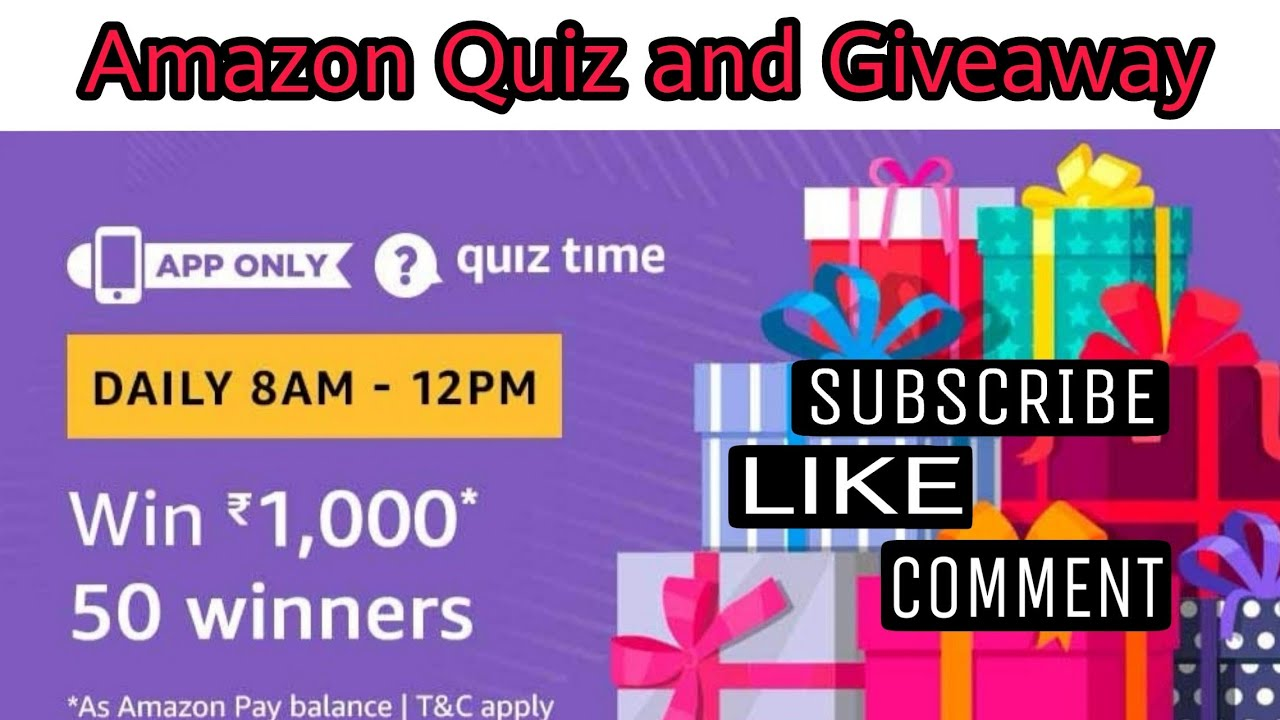 Amazon Quiz Answer Today, Win RS 1000 | 50 winners , Amazon Quiz and  Giveaway
