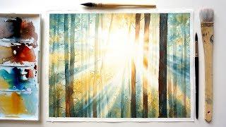 """Видео урок рисования акварелью """"Свет в акварельном лесу"""". (Превью к уроку)"""