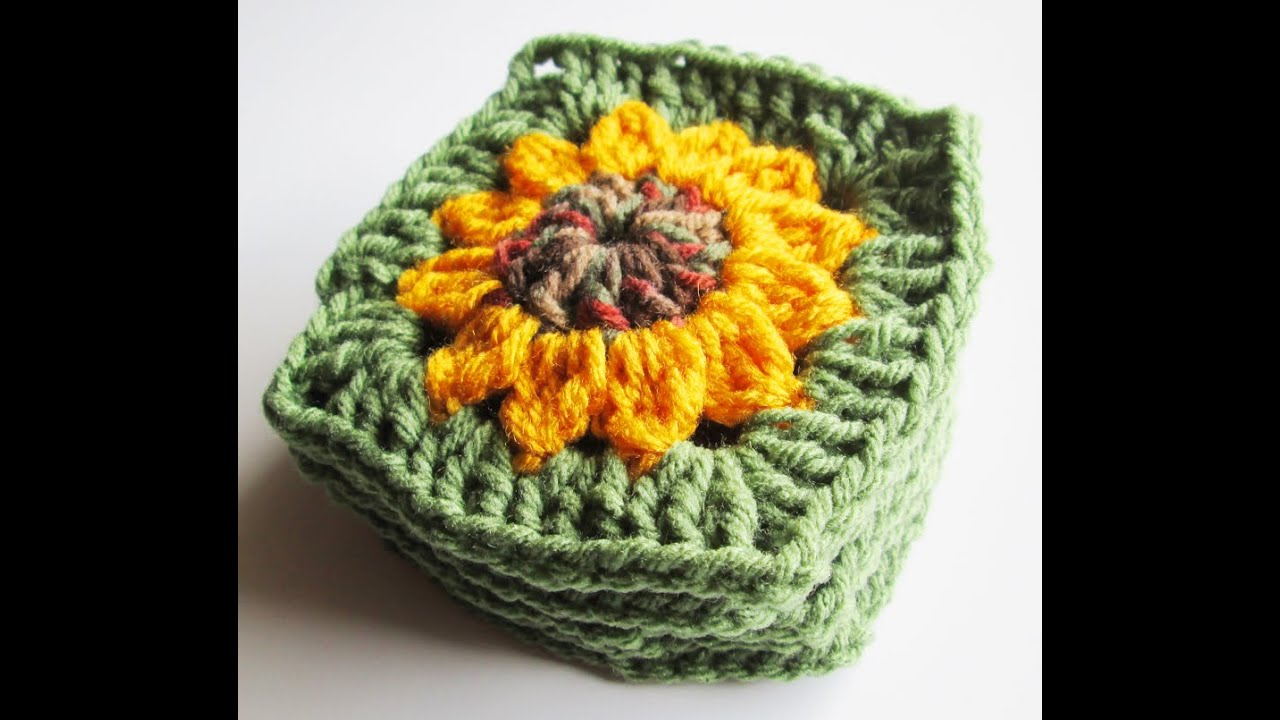 Crocheting Granny Squares On Youtube : Vol 13 - Crochet Pattern - Granny Square - Sunflower - YouTube