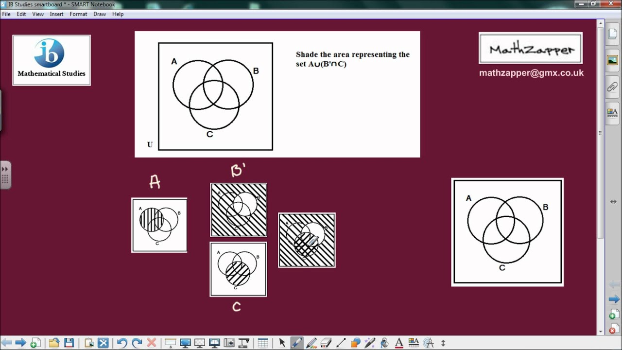 Shading areas on venn diagrams ib mathematical studies youtube pooptronica Gallery