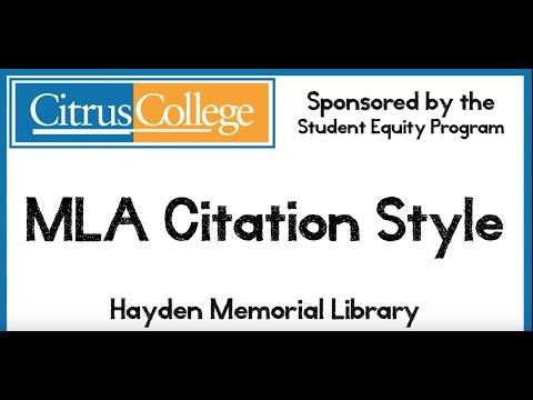 MLA Citation Style 8th edition HD