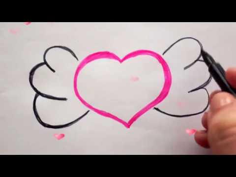 Herz Mit Flügel Zeichnen Malen Für Kinder How To Draw A Heart