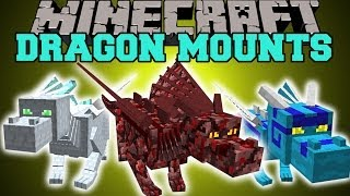 Minecraft: DRAGON MOUNTS (RIDE AETHER, GHOST, FIRE, ICE, WATER, & FOREST DRAGONS!) Mod Showcase