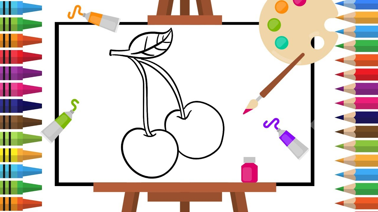 How to Draw cherry -Coloring pages for Kids - Art Colors for ...