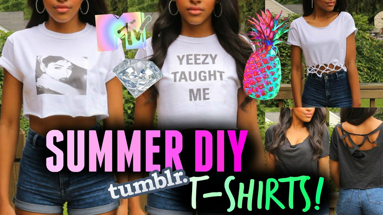 Diy clothes for summer easy no sew tumblr t shirts for teenagers youtube - Teenager girl simple home ...