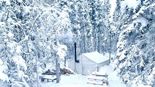-30 WINTER CAMPING *VERY CLΟSE CALL WITH TREE FALLING on HOT TENT*