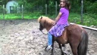 little girl riding my mini horse cricket bare back