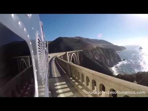 Airstream crossing the Bixby Bridge, Big Sur
