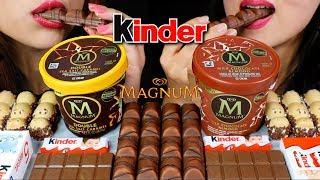 ASMR MAGNUM ICE CREAM + KINDER CHOCOLATES 초콜릿 아이스크림 리얼사운드 먹방   Kim&Liz ASMR