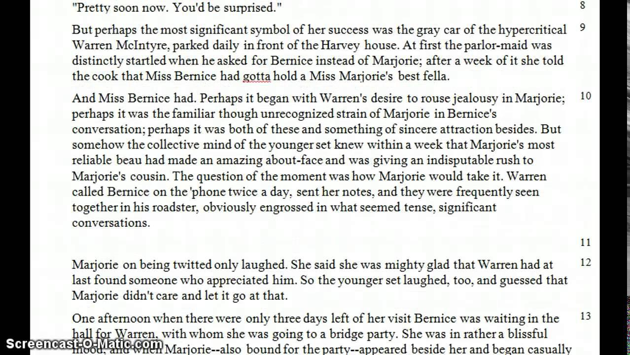 bernice bobs her hair essay topics