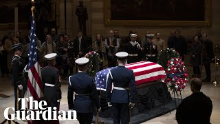 George HW Bush: mourners gather for funeral of former president – watch live