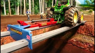 2 Rc Tractors & Farm Machinery BUILD A BRIDGE in just 8 minutes / JOHN DEERE & FENDT in action