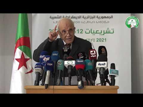 ندوة صحفية للدكتور محمد شرفي رئيس السلطة الوطنية المستقلة للانتخابات ليوم 27 أفريل 2021