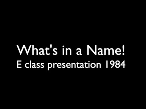 'What's in a Name!' Design Academy Eindhoven E class presentation 1984