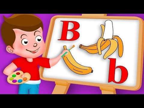 Drawing Alphabet B Letter with fruit Banana Drawing Paint And Colouring For Kids | Kids Drawing TV