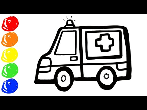 Learn colors Ambulance Toy With painting and coloring pages for kids, toddlers