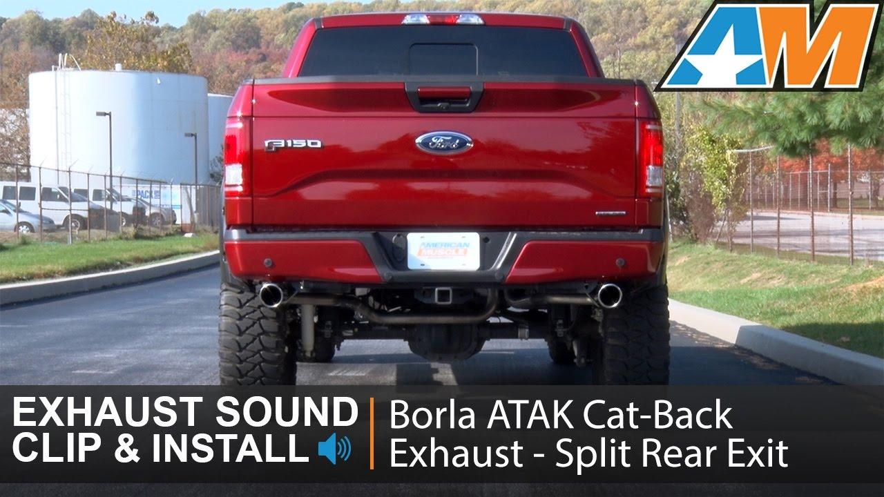 2015 2016 f 150 borla atak cat back exhaust split rear exit 5 0l sound clip install