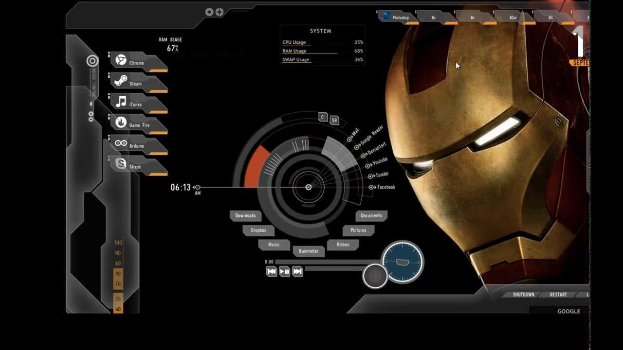 Google chrome theme iron man - Iron Man Rainmeter Theme Download And Demo Setup
