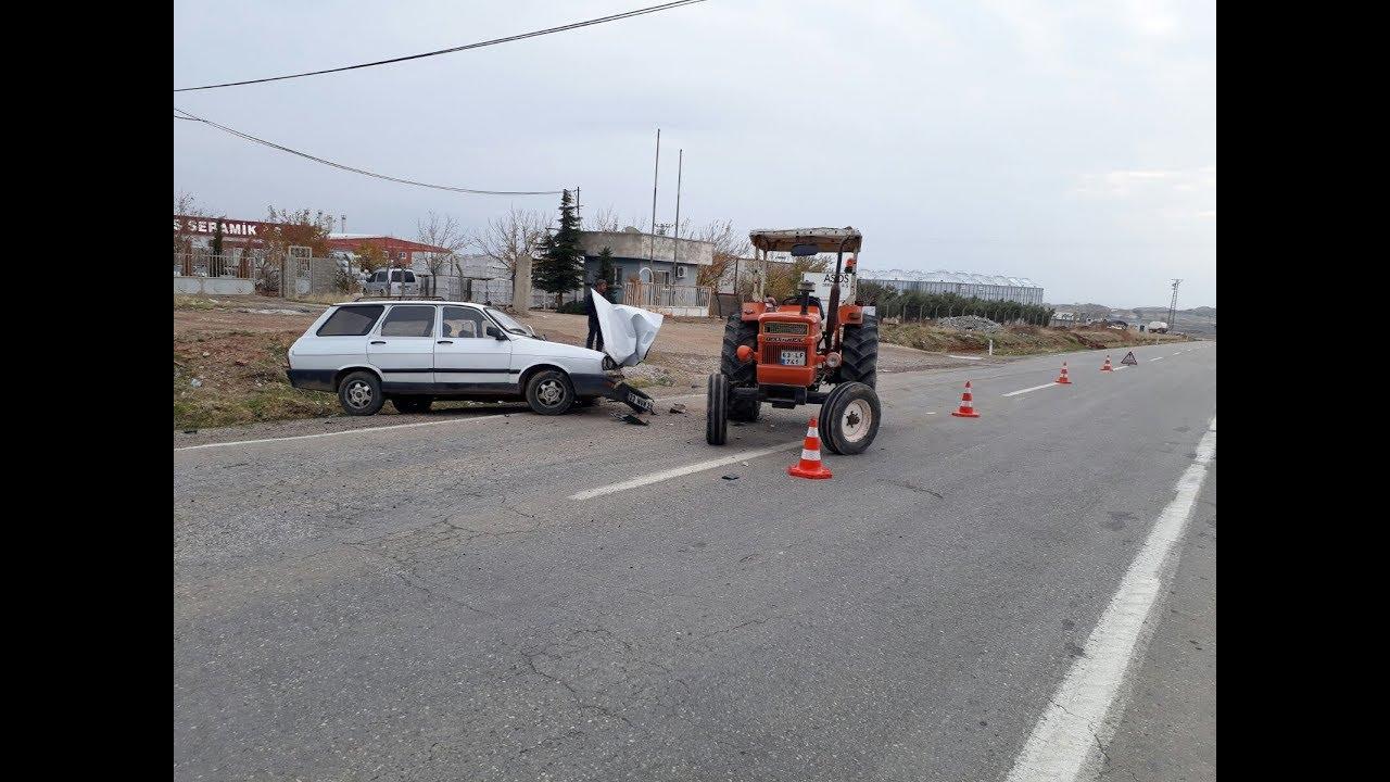 Traktörle Otomobil Çarpıştı: 1 Yaralı