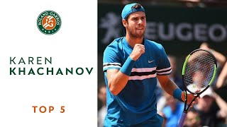 Karen Khachanov - TOP 5 | Roland Garros 2018