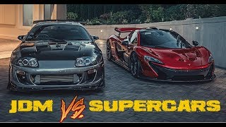 JDM CARS GOING AGAINST SUPERCARS!(Mazda rx7, Bugatti Veyron, Toyota Supra, Lamborghini & more)