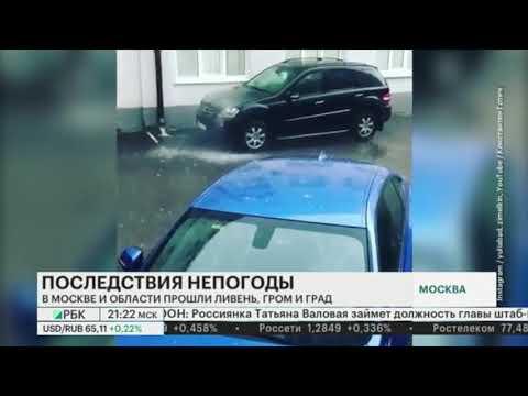 Москву и область затопило после ливня. Ураган и дождь с градом в Москве.